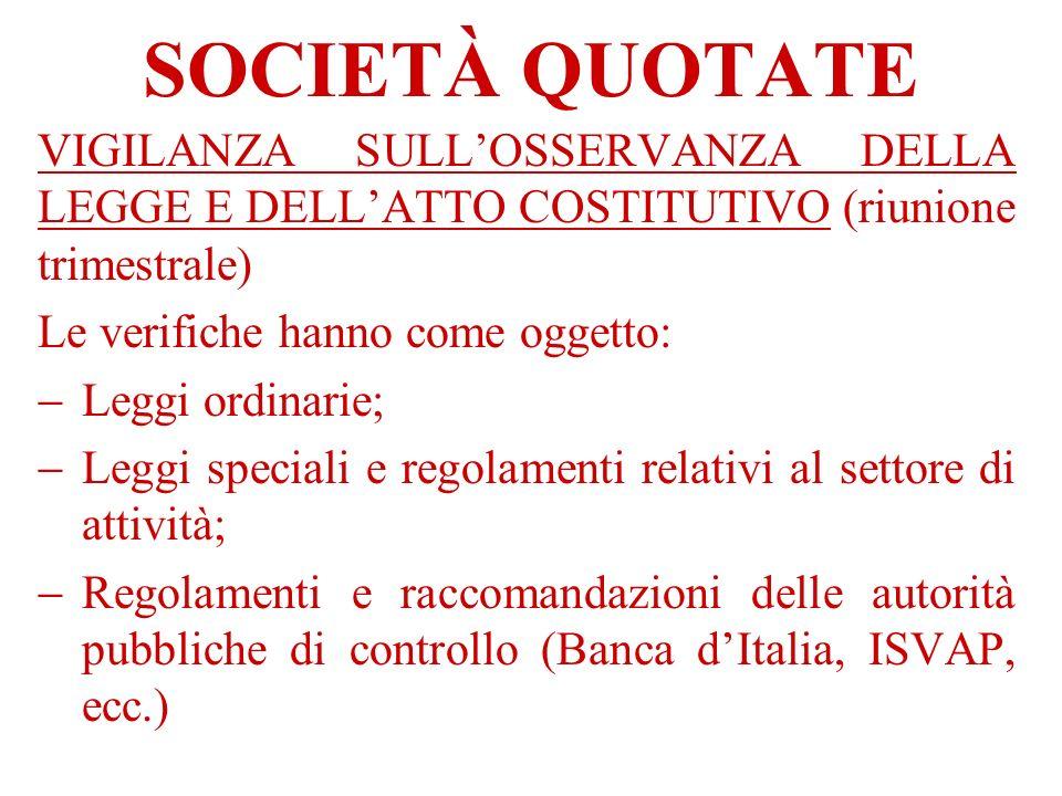 SOCIETÀ QUOTATE VIGILANZA SULL'OSSERVANZA DELLA LEGGE E DELL'ATTO COSTITUTIVO (riunione trimestrale)