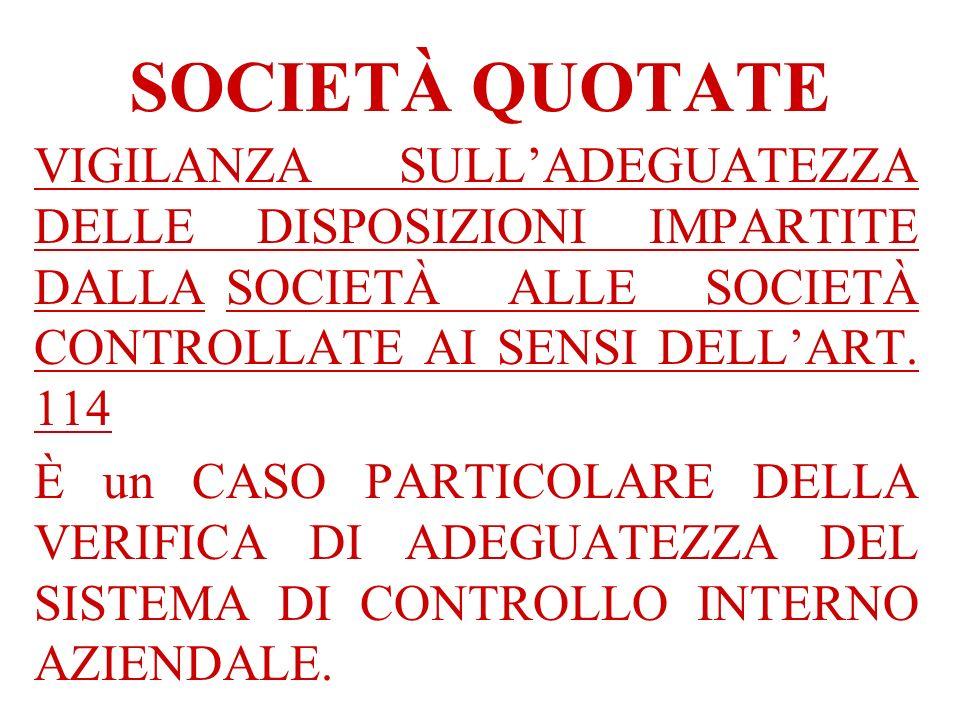 SOCIETÀ QUOTATE VIGILANZA SULL'ADEGUATEZZA DELLE DISPOSIZIONI IMPARTITE DALLA SOCIETÀ ALLE SOCIETÀ CONTROLLATE AI SENSI DELL'ART. 114.