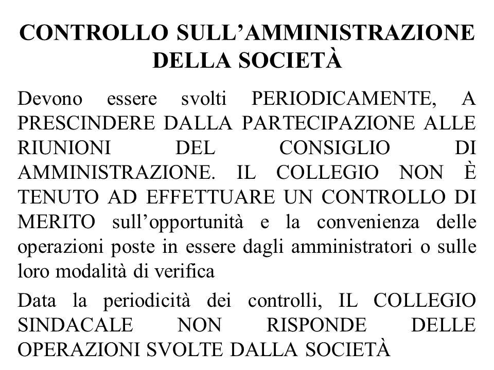 CONTROLLO SULL'AMMINISTRAZIONE DELLA SOCIETÀ