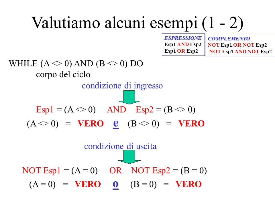 Valutiamo alcuni esempi (1 - 2)
