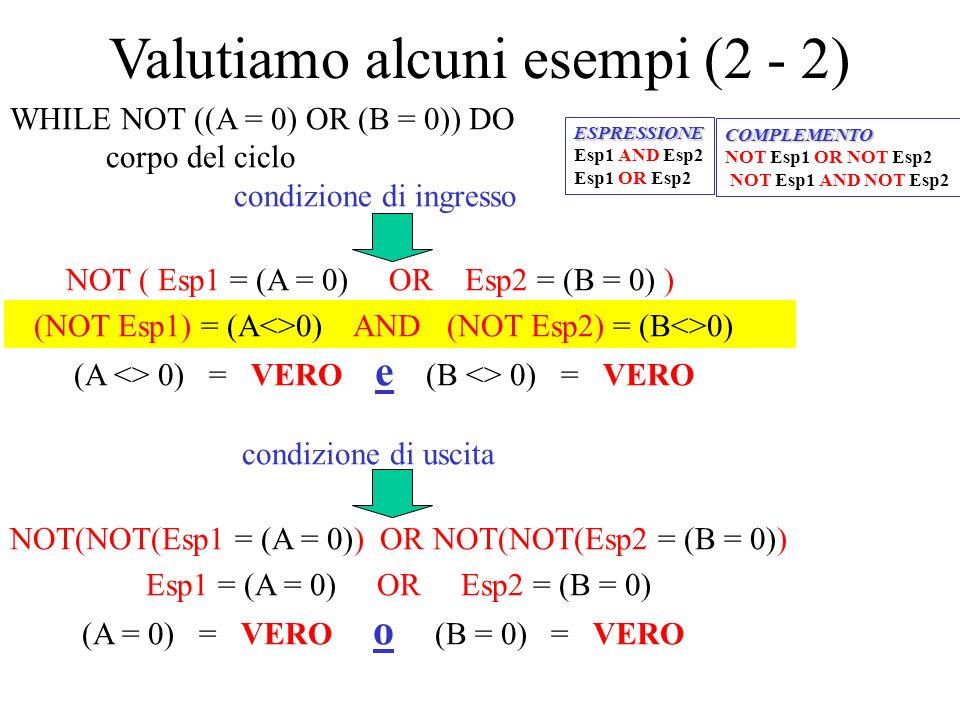 Valutiamo alcuni esempi (2 - 2)