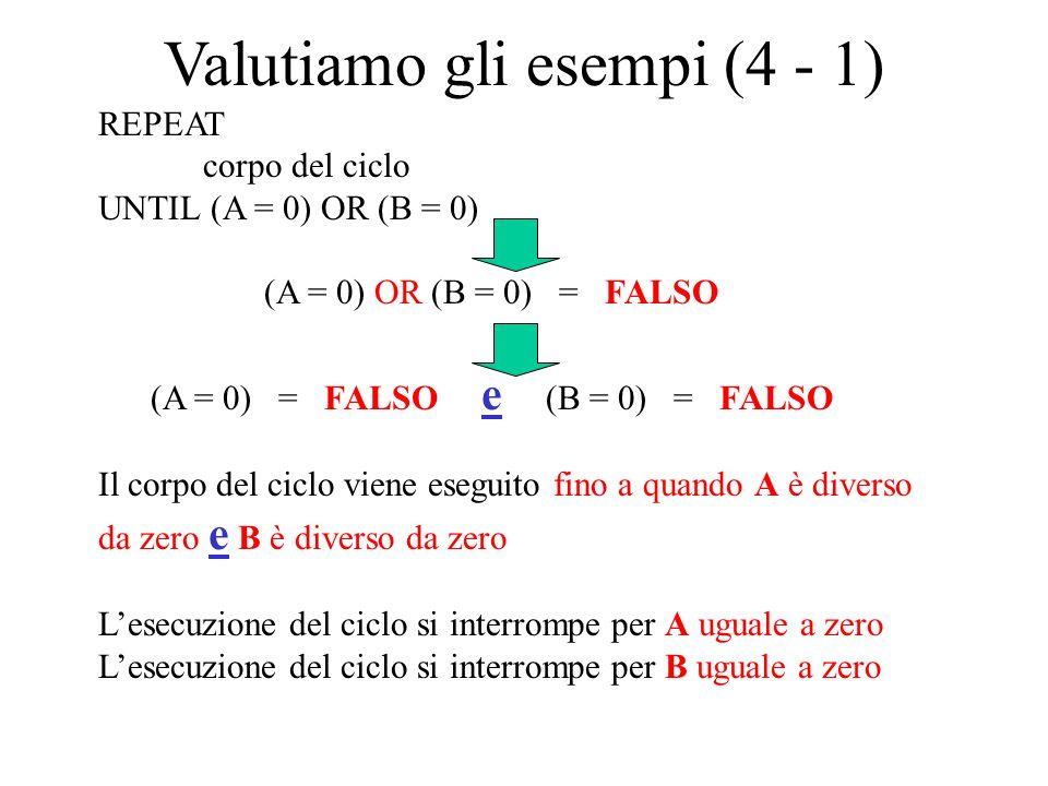 Valutiamo gli esempi (4 - 1)
