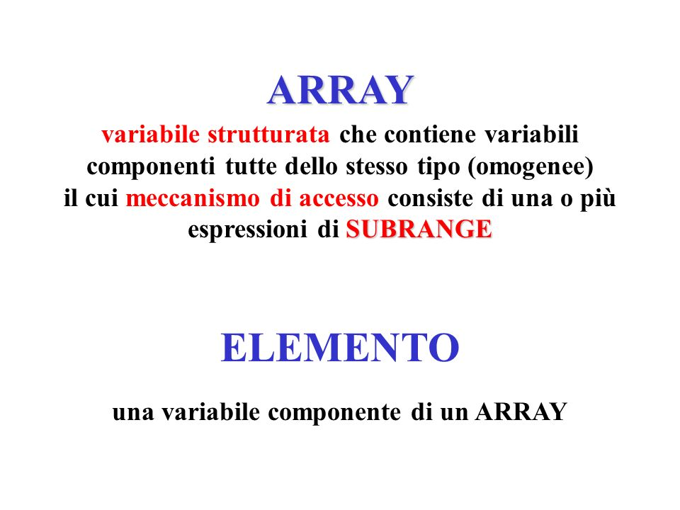 una variabile componente di un ARRAY