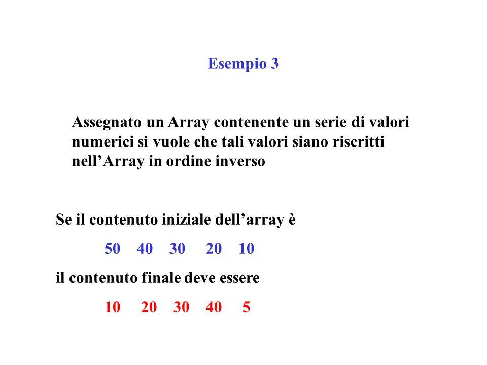 Esempio 3 Assegnato un Array contenente un serie di valori numerici si vuole che tali valori siano riscritti nell'Array in ordine inverso.
