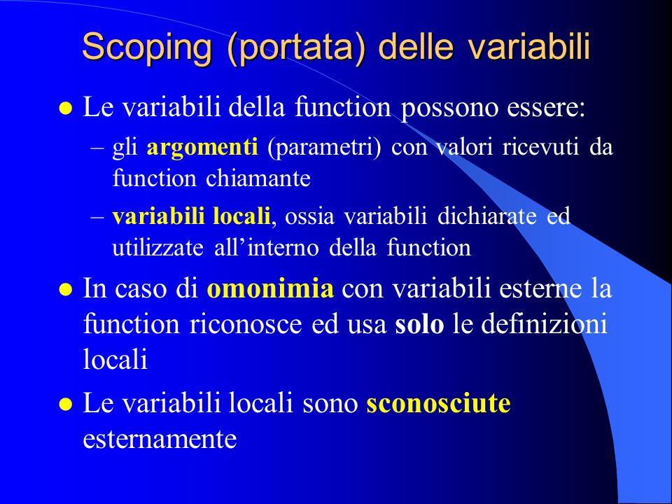 Scoping (portata) delle variabili