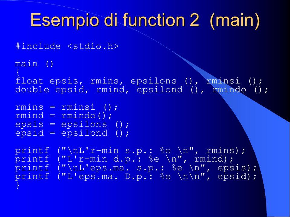 Esempio di function 2 (main)