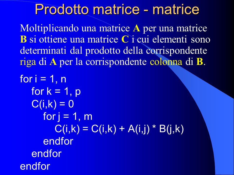 Prodotto matrice - matrice