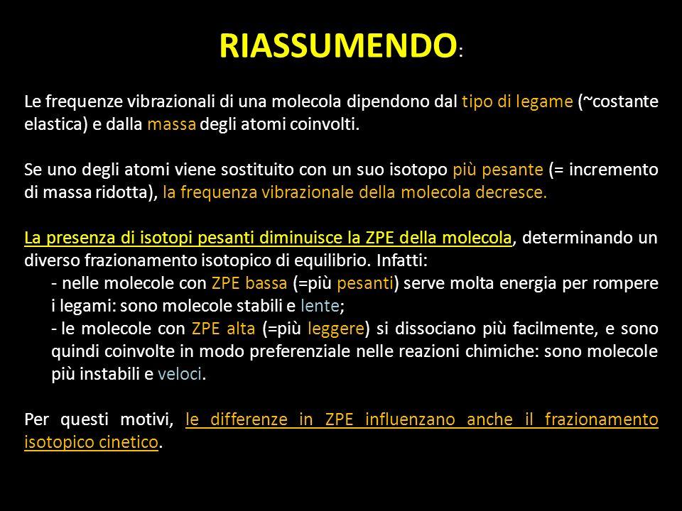 RIASSUMENDO: Le frequenze vibrazionali di una molecola dipendono dal tipo di legame (~costante elastica) e dalla massa degli atomi coinvolti.