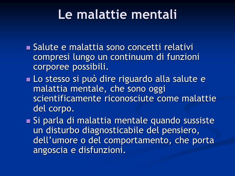 Le malattie mentali Salute e malattia sono concetti relativi compresi lungo un continuum di funzioni corporee possibili.