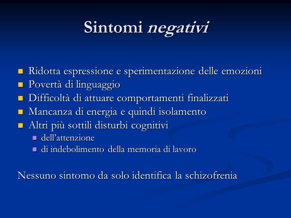 Sintomi negativi Ridotta espressione e sperimentazione delle emozioni