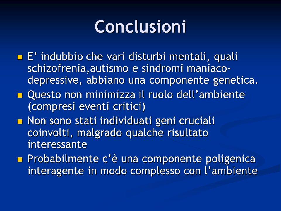 Conclusioni E' indubbio che vari disturbi mentali, quali schizofrenia,autismo e sindromi maniaco-depressive, abbiano una componente genetica.