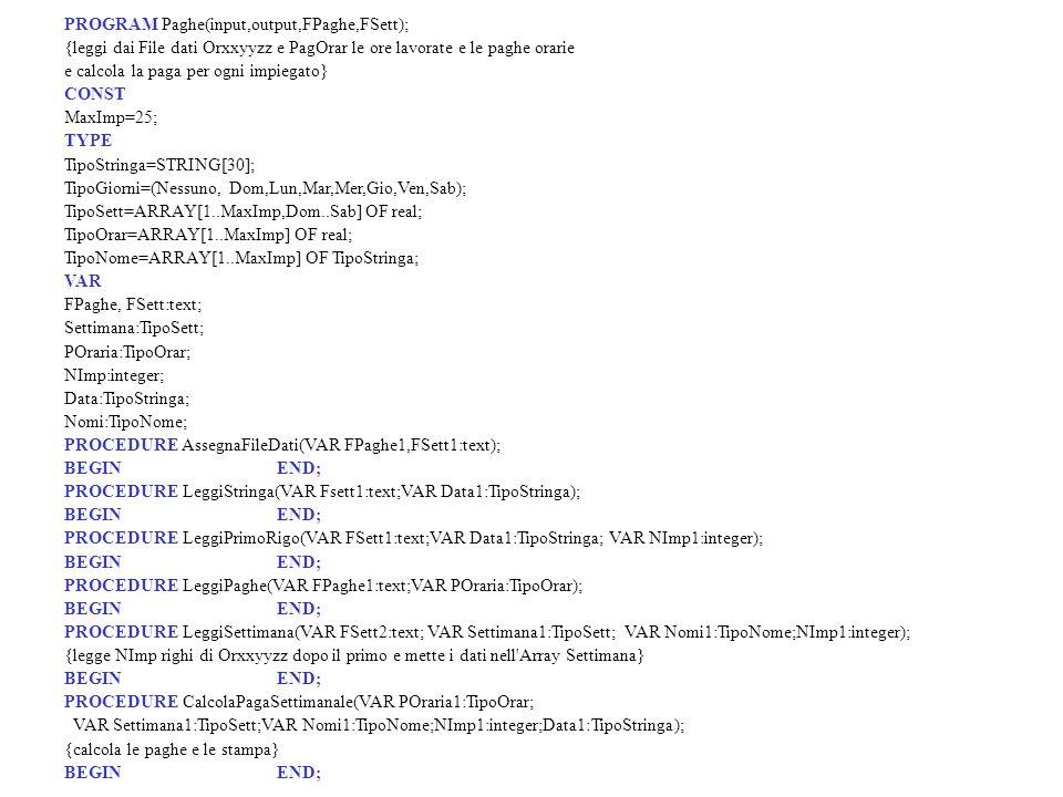 PROGRAM Paghe(input,output,FPaghe,FSett);