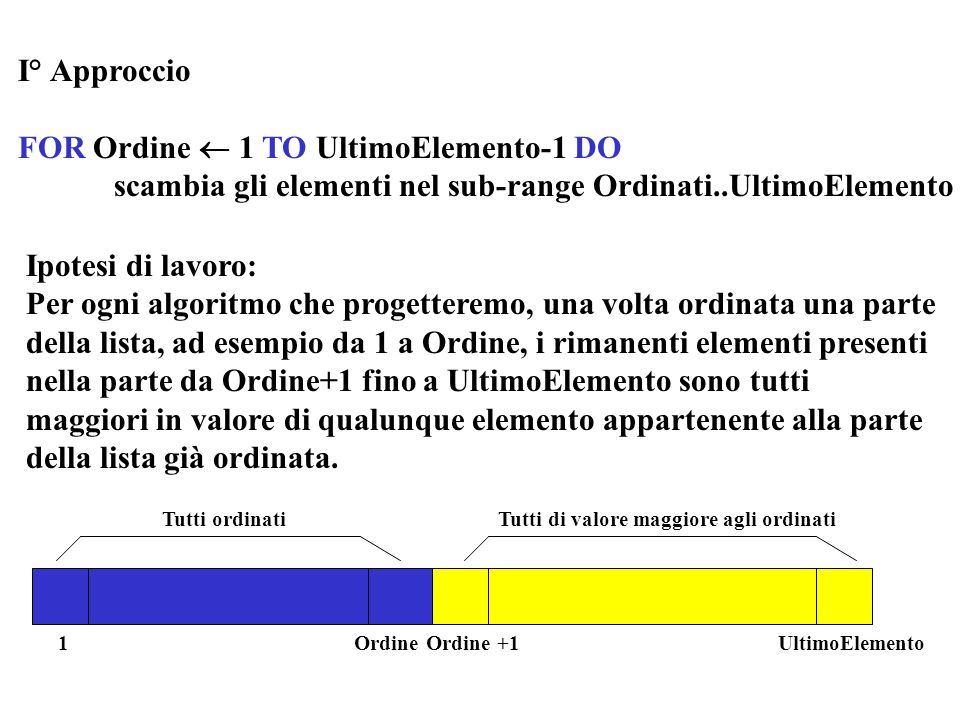 FOR Ordine  1 TO UltimoElemento-1 DO