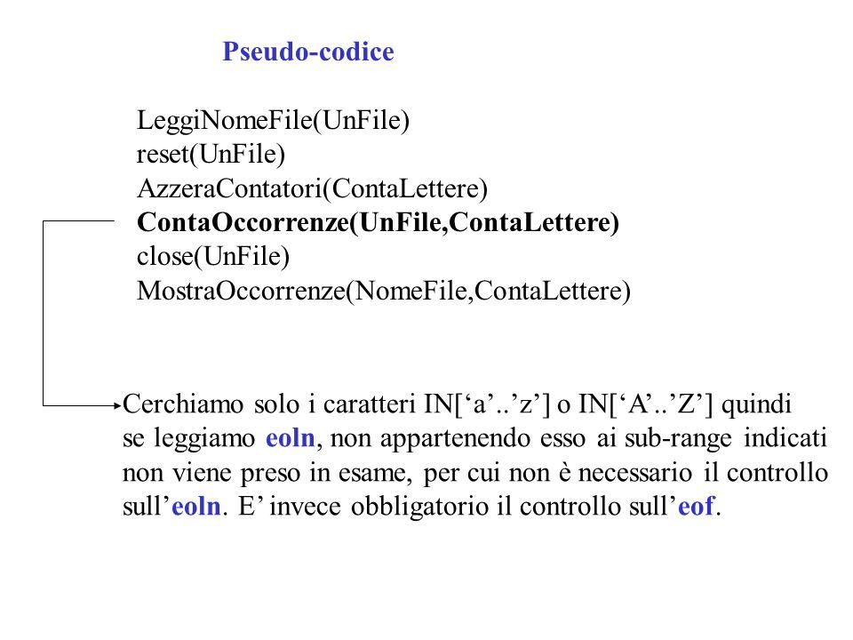 Pseudo-codice LeggiNomeFile(UnFile) reset(UnFile) AzzeraContatori(ContaLettere) ContaOccorrenze(UnFile,ContaLettere)
