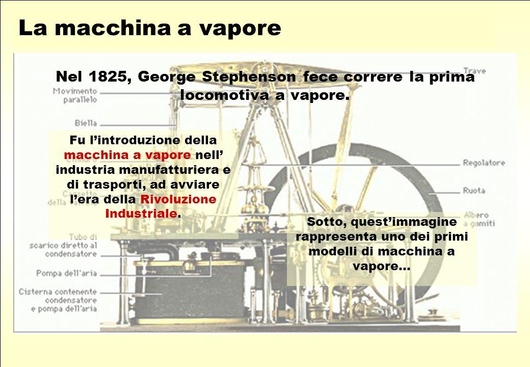 Nel 1825, George Stephenson fece correre la prima locomotiva a vapore.