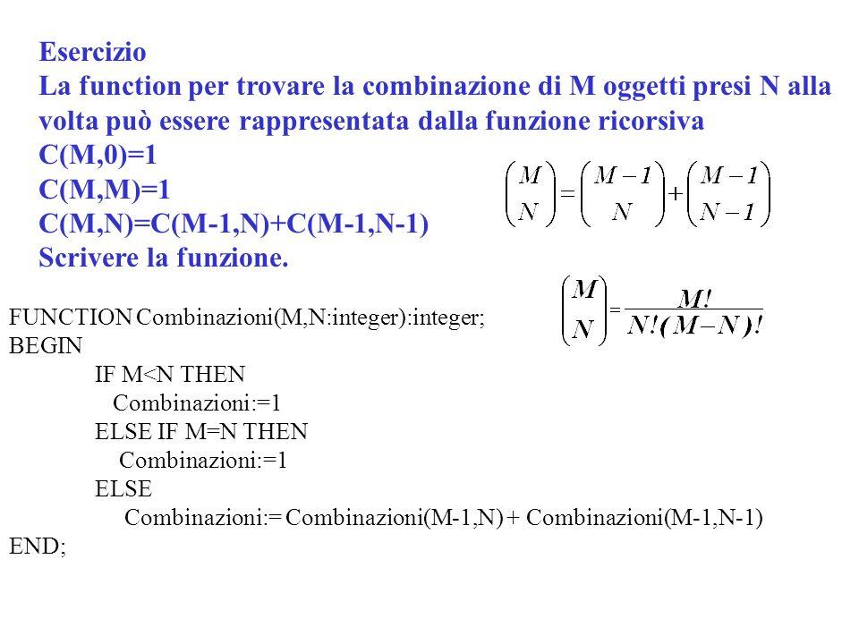 C(M,N)=C(M-1,N)+C(M-1,N-1) Scrivere la funzione.