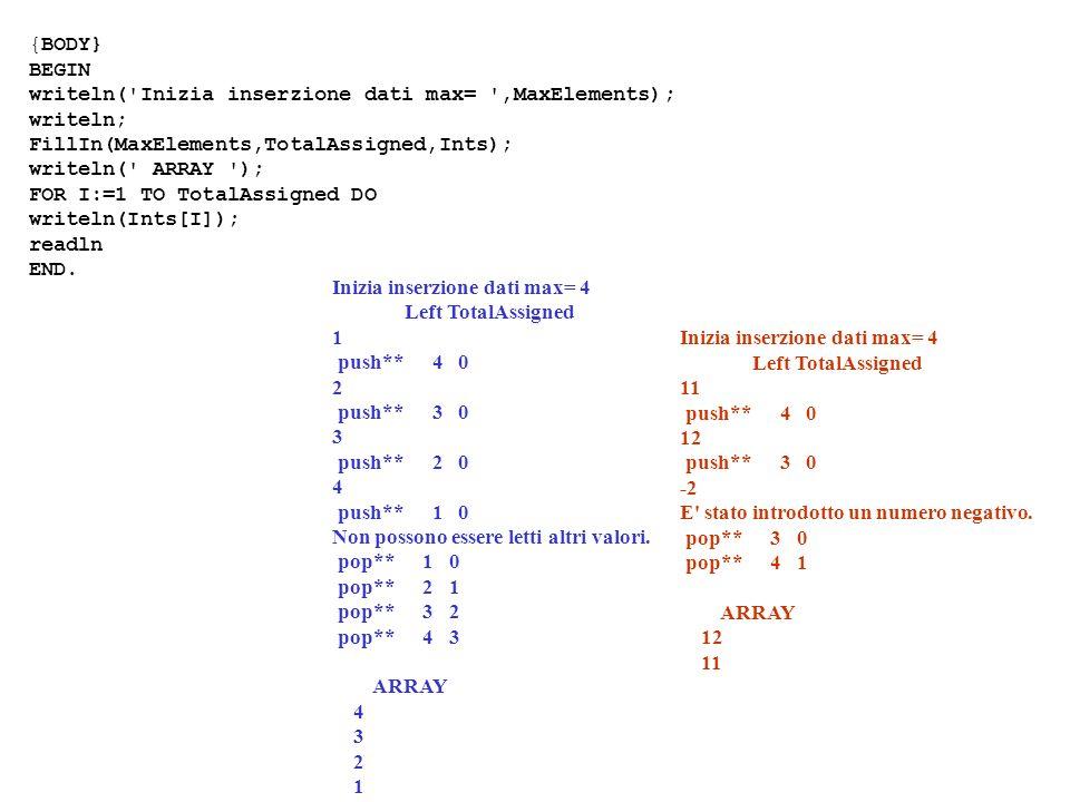 {BODY} BEGIN. writeln( Inizia inserzione dati max= ,MaxElements); writeln; FillIn(MaxElements,TotalAssigned,Ints);