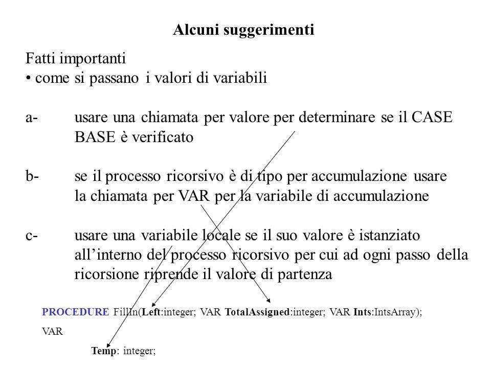 come si passano i valori di variabili