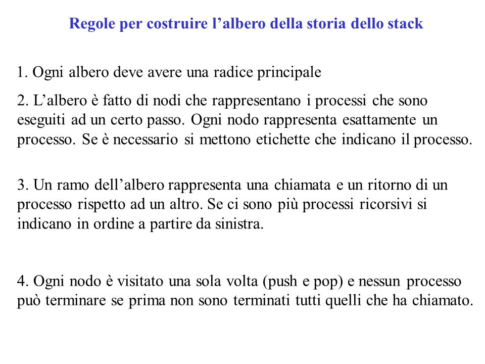 Regole per costruire l'albero della storia dello stack