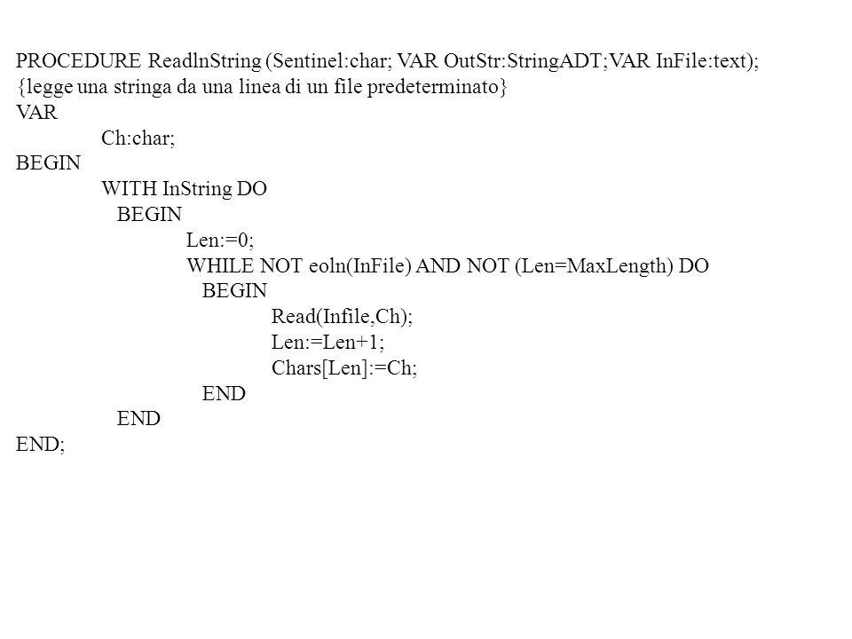 PROCEDURE ReadlnString (Sentinel:char; VAR OutStr:StringADT;VAR InFile:text);