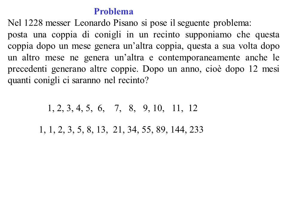 Problema Nel 1228 messer Leonardo Pisano si pose il seguente problema: