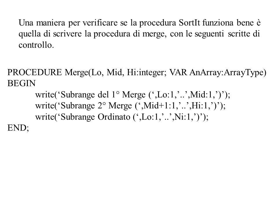 Una maniera per verificare se la procedura SortIt funziona bene è quella di scrivere la procedura di merge, con le seguenti scritte di controllo.