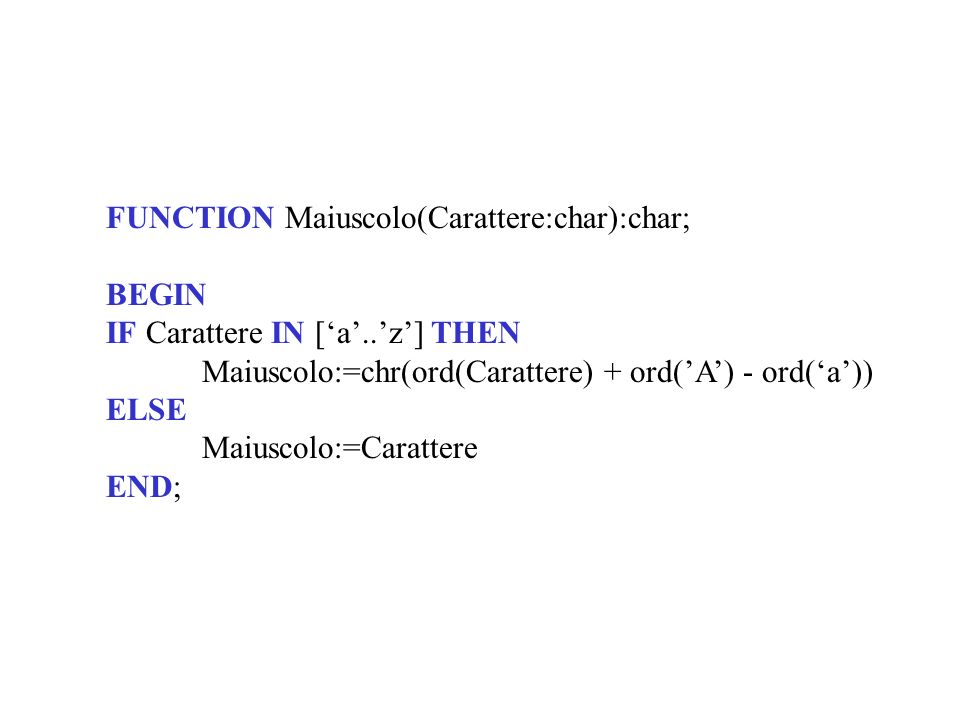 FUNCTION Maiuscolo(Carattere:char):char;