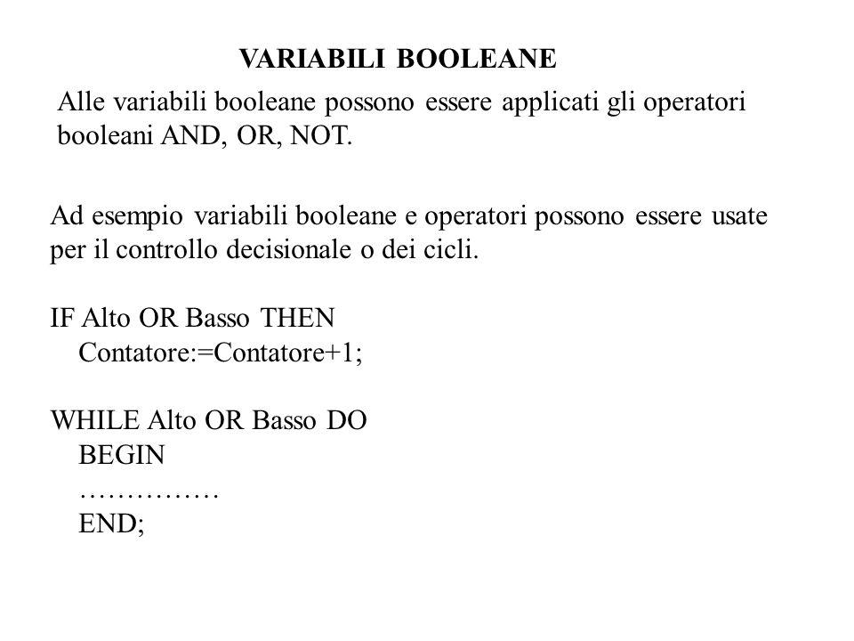 VARIABILI BOOLEANE Alle variabili booleane possono essere applicati gli operatori. booleani AND, OR, NOT.