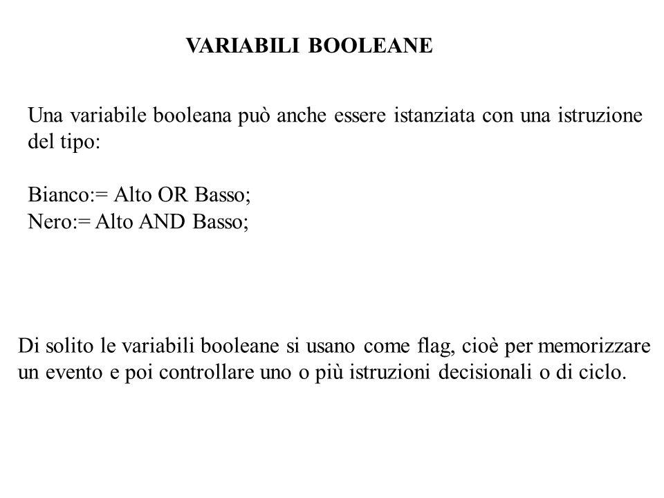VARIABILI BOOLEANE Una variabile booleana può anche essere istanziata con una istruzione. del tipo: