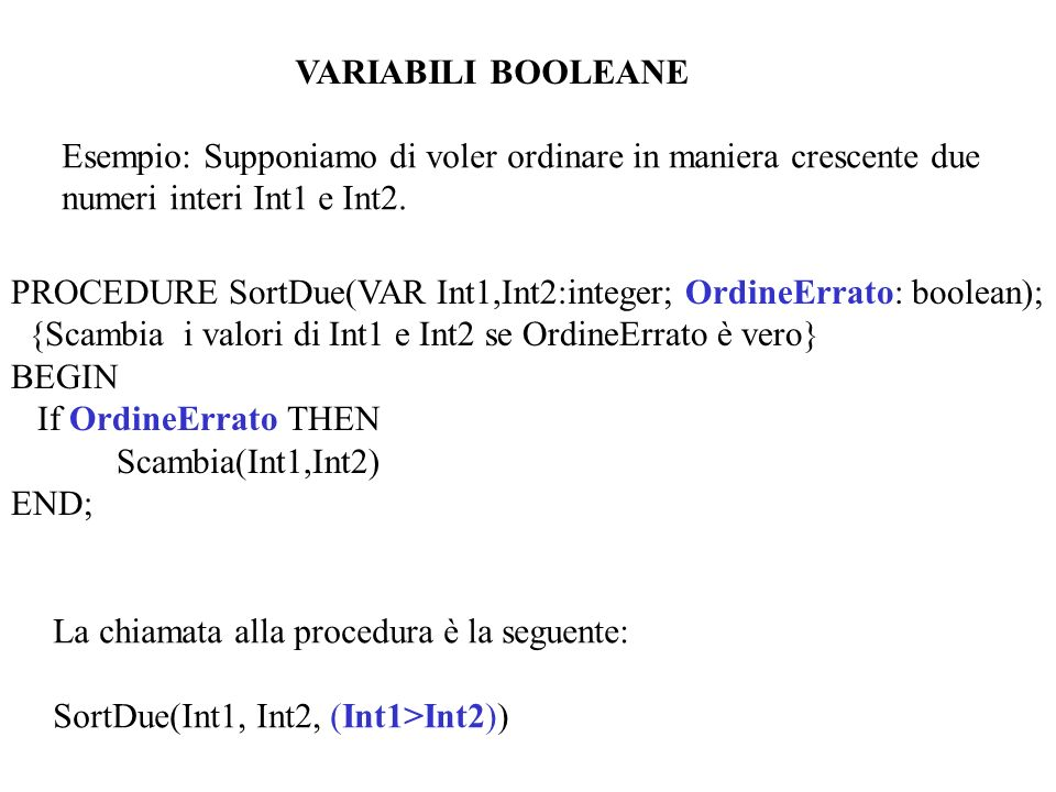 VARIABILI BOOLEANE Esempio: Supponiamo di voler ordinare in maniera crescente due. numeri interi Int1 e Int2.