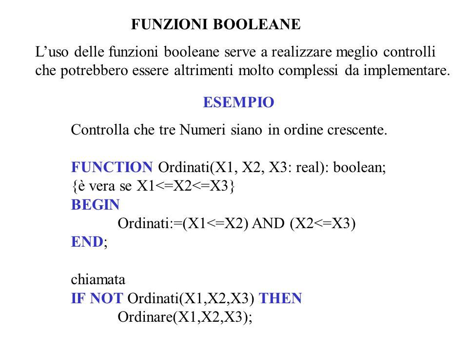 FUNZIONI BOOLEANE L'uso delle funzioni booleane serve a realizzare meglio controlli.