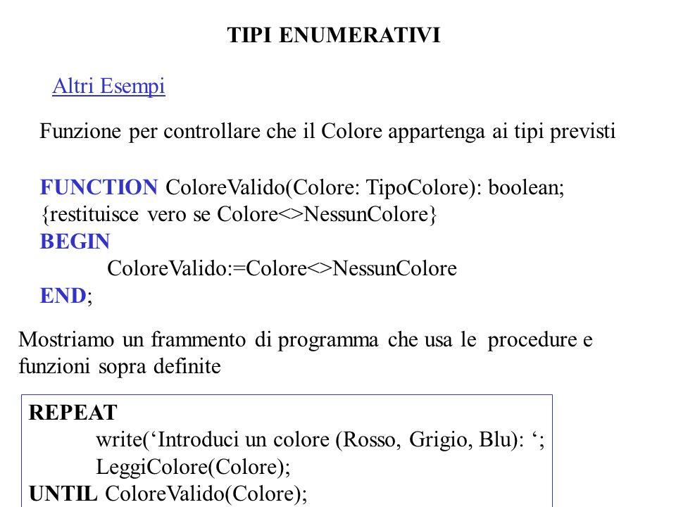 TIPI ENUMERATIVI Altri Esempi. Funzione per controllare che il Colore appartenga ai tipi previsti.