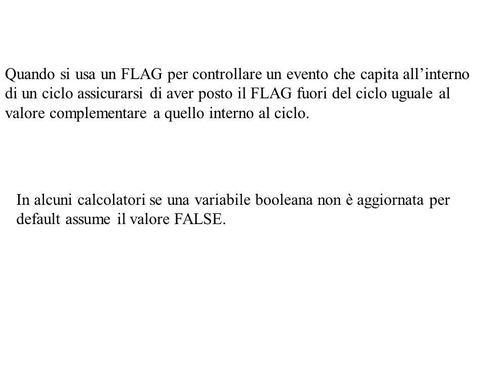 Quando si usa un FLAG per controllare un evento che capita all'interno di un ciclo assicurarsi di aver posto il FLAG fuori del ciclo uguale al valore complementare a quello interno al ciclo.