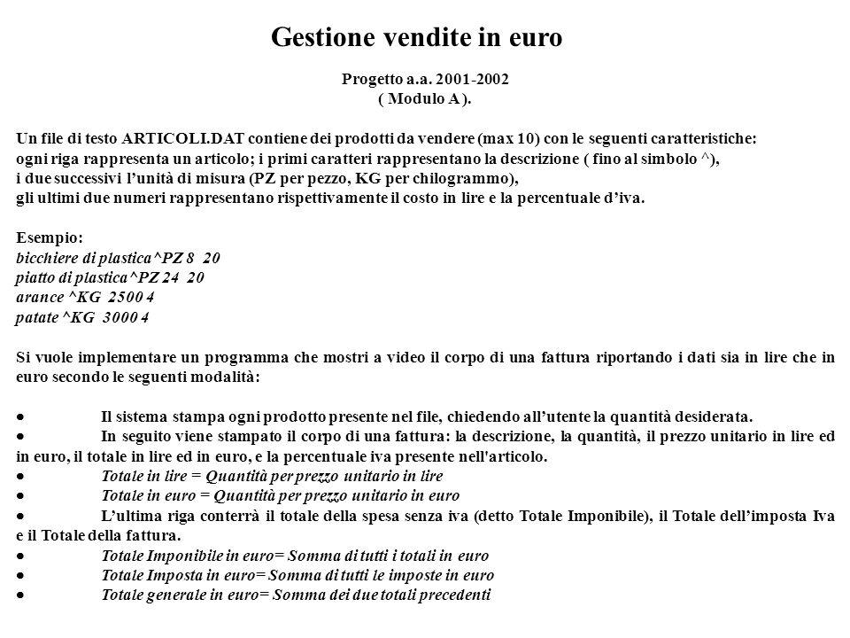 Gestione vendite in euro