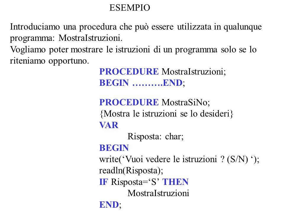 ESEMPIO Introduciamo una procedura che può essere utilizzata in qualunque programma: MostraIstruzioni.