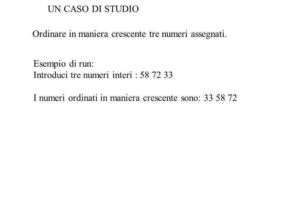 UN CASO DI STUDIO Ordinare in maniera crescente tre numeri assegnati. Esempio di run: Introduci tre numeri interi : 58 72 33.
