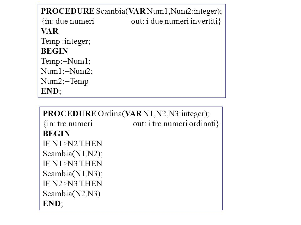 PROCEDURE Scambia(VAR Num1,Num2:integer);
