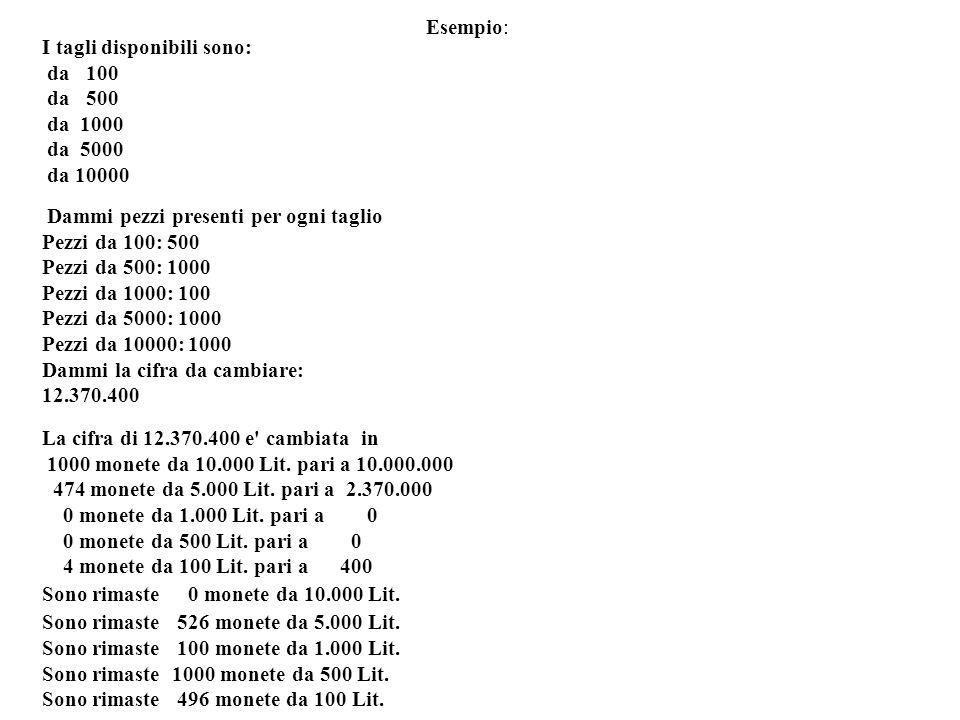 Esempio:I tagli disponibili sono: da 100. da 500. da 1000. da 5000. da 10000. Dammi pezzi presenti per ogni taglio.