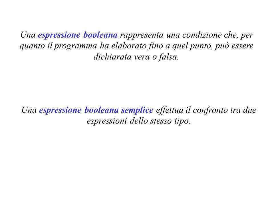 Una espressione booleana rappresenta una condizione che, per quanto il programma ha elaborato fino a quel punto, può essere dichiarata vera o falsa.