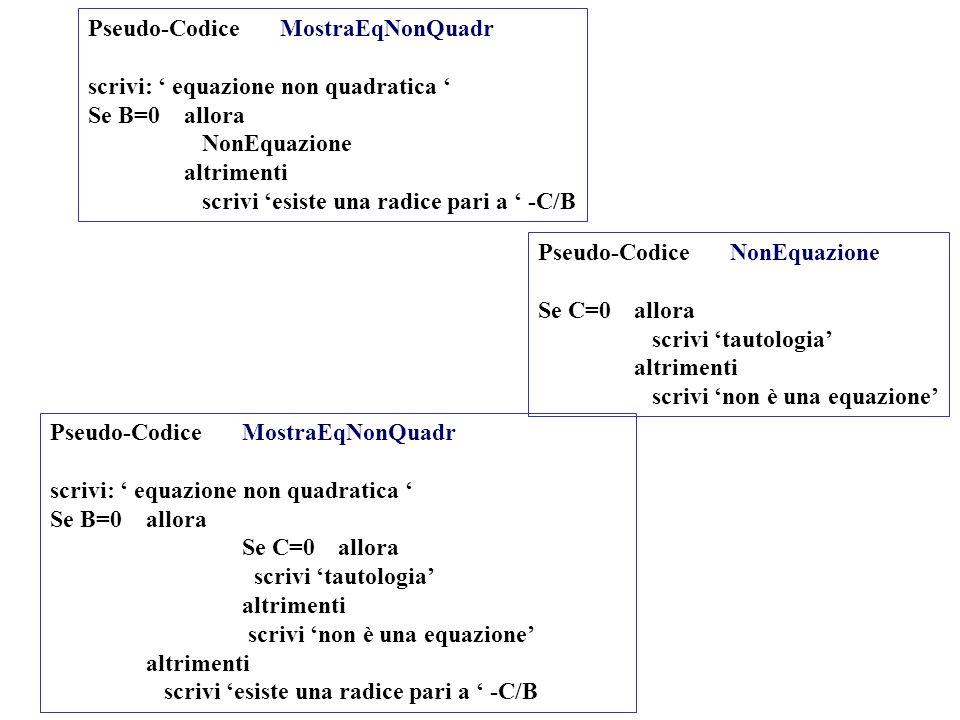 Pseudo-Codice MostraEqNonQuadr