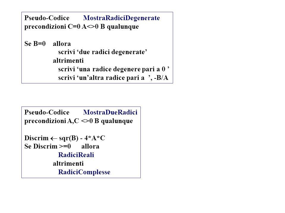 Pseudo-Codice MostraRadiciDegenerate