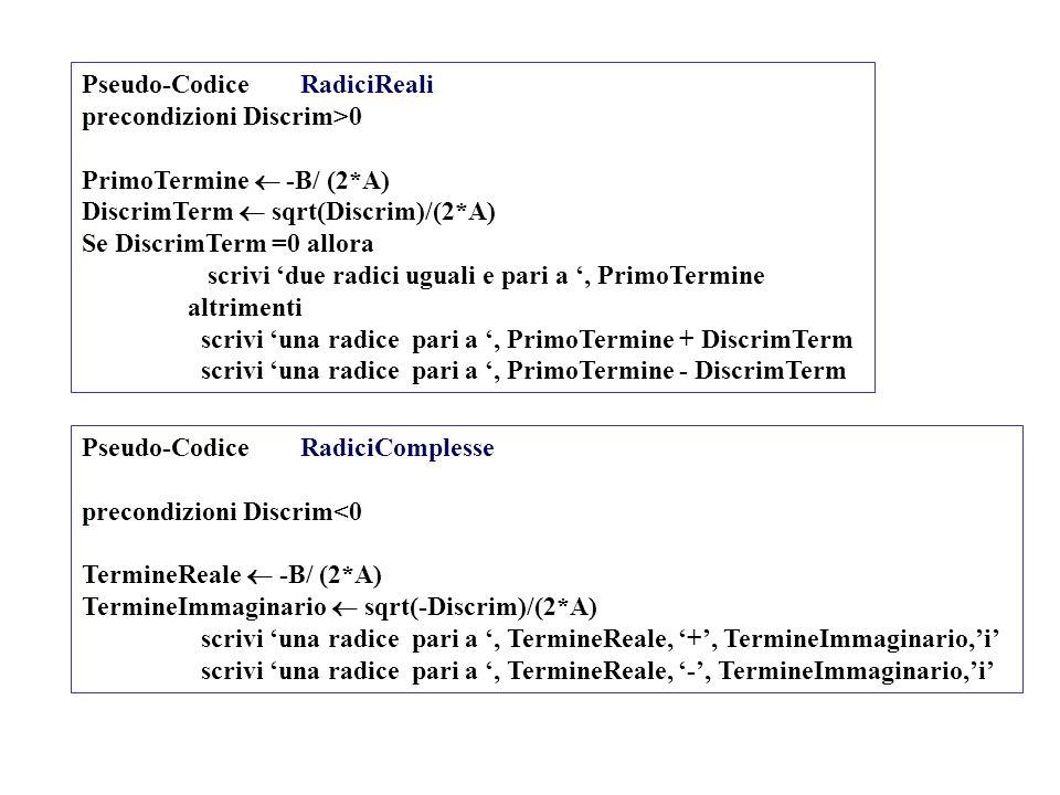Pseudo-Codice RadiciReali