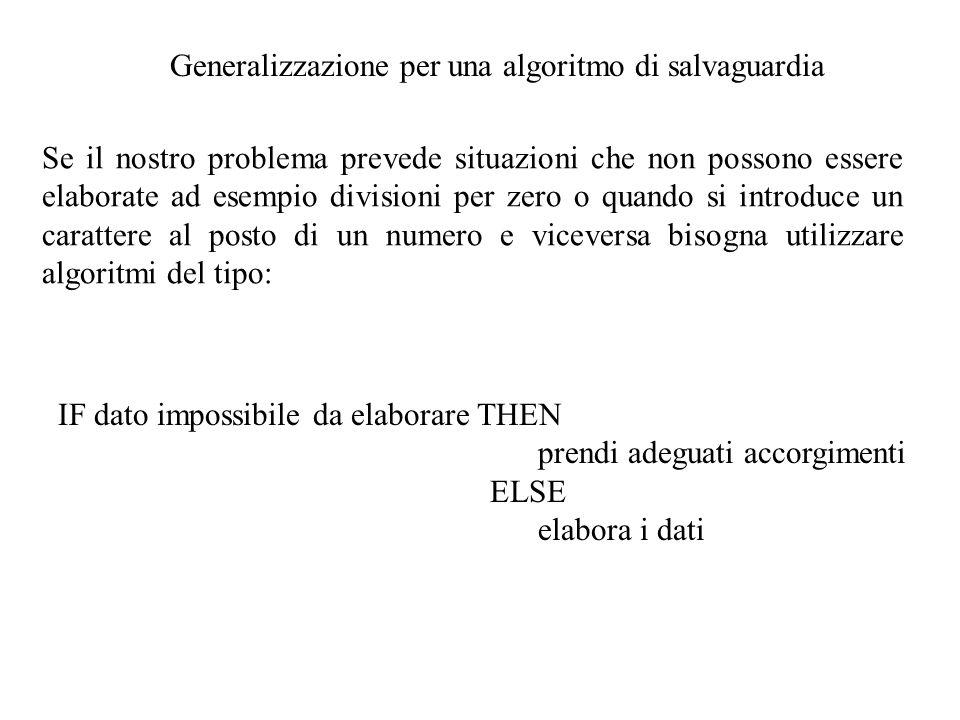 Generalizzazione per una algoritmo di salvaguardia