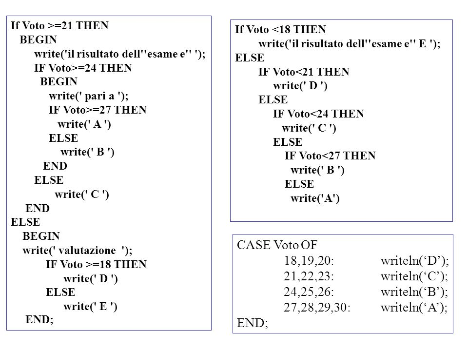 CASE Voto OF 18,19,20: writeln('D'); 21,22,23: writeln('C');