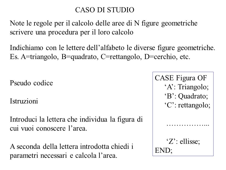 CASO DI STUDIO Note le regole per il calcolo delle aree di N figure geometriche scrivere una procedura per il loro calcolo.