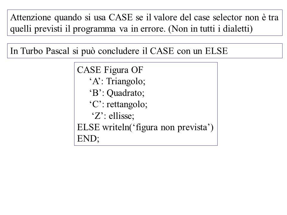 Attenzione quando si usa CASE se il valore del case selector non è tra quelli previsti il programma va in errore. (Non in tutti i dialetti)