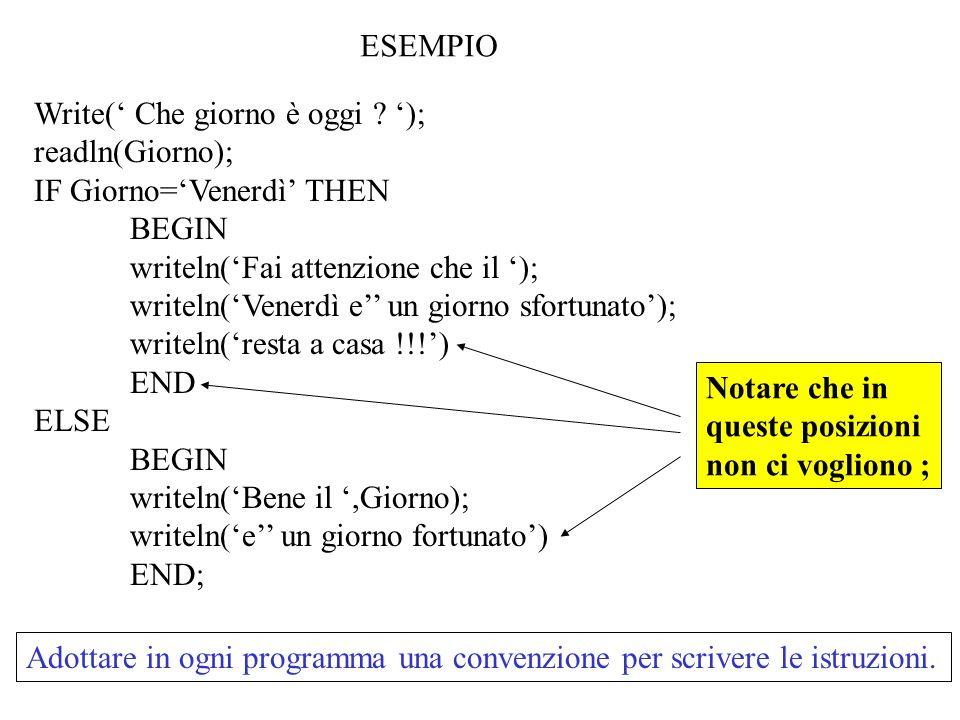 ESEMPIO Write(' Che giorno è oggi '); readln(Giorno); IF Giorno='Venerdì' THEN. BEGIN. writeln('Fai attenzione che il ');