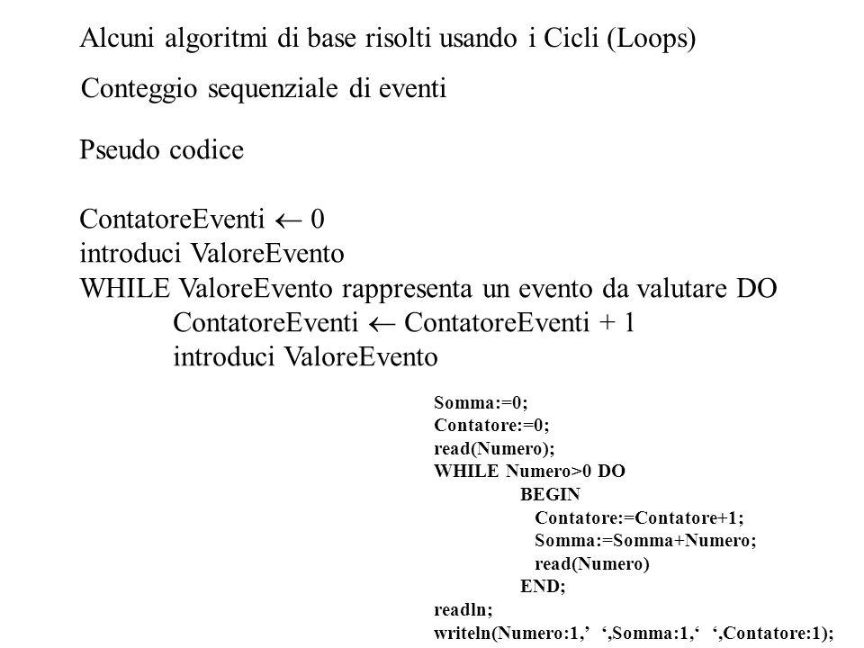 Alcuni algoritmi di base risolti usando i Cicli (Loops)