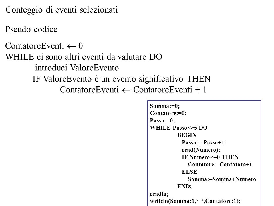 Conteggio di eventi selezionati