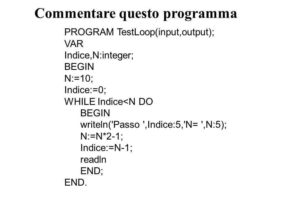 Commentare questo programma